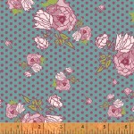 Painted Flowers and Dots –Teal